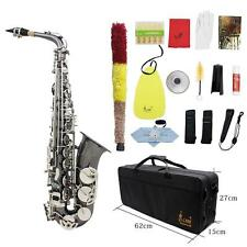 BLACK LACQUERED NICKEL KEYS TENOR SAXOPHONE SAX W/ TUNER CASE CAREKIT F8Y3