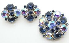 Vintage WEISS Large AB Blue Rhinestone Brooch Pin Earrings Set Signed Exc Cond