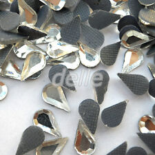1000pcs 5x8mm Faceted Clear Teardrop Iron On Hot Fix Crystal Glass Rhinestones