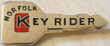NORFOLK KEY RIDE ( Bike trainer ) Badge Brooch pin in gilt 40mm x 17mm