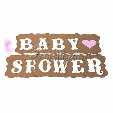 Baby Shower Banner Bunting Garland Rustic Letters Chic Party Cardboard Decor