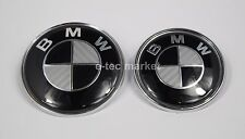(2) BMW BLACK CARBON FIBER Emblem 82 mm 73 mm Front Hood rear trunk Logo