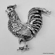 Chicken Pewter Pin Brooch - British Artisan Signed- Hen Rooster Cockerel Poultry