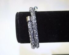 NEW SILVER DOUBLE CRYSTALDUST Made With SWAROVSKI CRYSTALS BANGLE CUFF XMAS