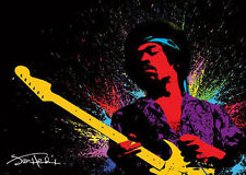 Jimi Hendrix LAMINATED POSTER FENDER Stratocaster Splash Paint NEW Licensed Art