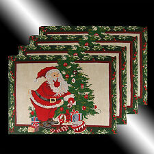 SET OF 4 VINTAGE GREEN CHRISTMAS SANTA CLAUS TAPESTRY TABLE LINEN PLACEMATS