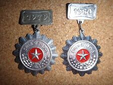 """2 Vietcong VC Medals """"CHIEN SI THI DUA"""" Soldier Of Emulation Years 1979 & 1980"""