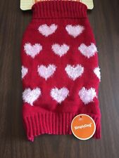 Dog Sweater Size Small Red With Heart Shape Fuzzy Pink