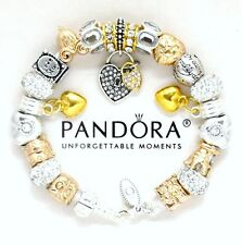 "Pandora Silver Bracelet  ""LOVE STORY"" White Gold Wife Heart European Charms"