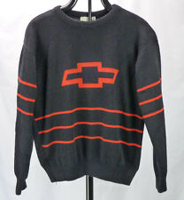 Vtg 70s 80s Chevrolet Chevy Bowtie Logo Acrylic MEns Sweater L Black/Red Stripes
