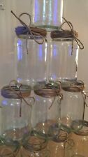 10 x Rustic Glass Jars - Vintage Vases - Wedding Centrepiece Shabby Chic Hessian