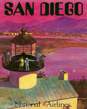 """National  Airlines 8.5"""" x 11""""   Travel Poster [ SAN DIEGO ] -"""