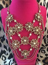 Betsey Johnson Enchanted Garden HUGE Opal Crystal AB Flower Floral Bib Necklace
