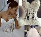 2016 New Bling Crystal Pearl Strapless Bridal Ball Princess Wedding Dress Gowns