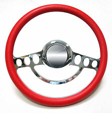 Chrome & Red Steering Wheel Full Kit 1969 and up Chevy Chevrolet El Camino