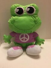"""Animations Cute Peace Sign Plush Frog Backpack w/Zipper Pocket 15"""""""