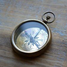Compass Pendant London WORKING Compass Glass Face Antique Brass Vintage Style