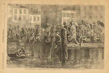 New York, City Docks, Poor People, Hot Weather Vintage, 1871 Antique, Art Print,