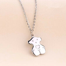 Cute Silver Bear Necklace Stainless Steel Pendant Women's Fashion Jewellery Gift