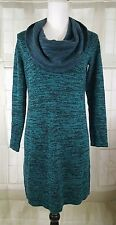 Soft Surroundings Sweater Tunic Dress Knit Cowl Neck Teal Black Top Sz M