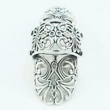 FASHION CZ ENGRAVED FLOWER FULL FINGER ARMOR HOLLOW925SOLID STERLING SILVER RING