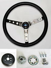 "Bronco F100 F150 F250 F350 Grant Black Steering Wheel 15"" Round Holes Stainless"