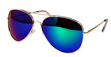 BLUE MIRROR LENS GOLD METAL LARGE FRAME AVIATOR COP SUNGLASSES SHADES UV400