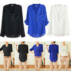 Pretty Trendy Sexy Womens V-neck Chiffon Long Sleeve Blouse Loose Tops Shirt