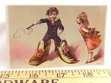 Victorian Trade Card Boy Wearing Giant Shoes Whip Cute Girl Comical F25