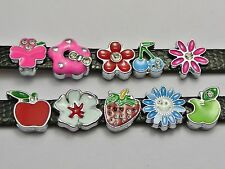 10 Assorted Alloy Enamel Flower Fruit Slide Charm Fit 8mm Wristband