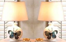 """Set of 2 ** Artistic * 18"""" BUTTERFLY NIGHT STAND TABLE DESK LAMPS & SHADES * NIB"""