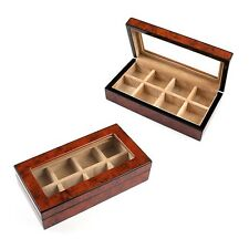Collectors Travelers Distinguished Wood Cufflinks Storage Box Case for 8 Pairs