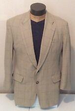 Burberrys VTG Beige Window Pane Silk 2 Button Blazer 42R