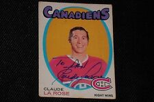 CLAUDE LAROSE 1971-72 O-PEE-CHEE SIGNED AUTOGRAPHED CARD #146 CANADIENS