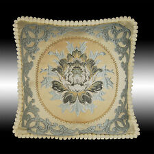 BLUE DAMASK TAPESTRY SOFT VELVET THROW PILLOW CASE CUSHION COVER CHAIR PAD 19""