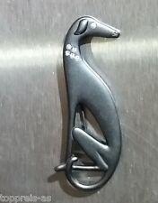 Brosche Hund Windhund Strass Anstecknadel Pin Galgo Greyhound Anstecker schwarz