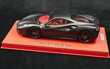 1/18 BBR FERRARI 488 GTB MATT BLACK ON RED DELUXE BASE LE 10 PCS N MR