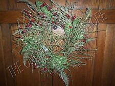 Christmas Holiday Glitter Twig Berry Gold Green Candle Ring Chair Back Ornament