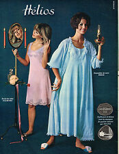 PUBLICITE ADVERTISING 124  1965  HELIOS   fond de robe  ensemble de nuit