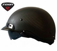 BLACK CARBON FIBER LOOK MOTORCYCLE HALF HELMET RETRACTABLE SUN VISOR ROUTE 66