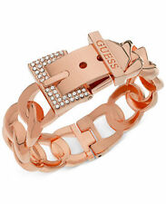 NWT Guess Rose-Gold Metal-Clear Rhinestone-Chain Link Hinged Buckle Bracelet