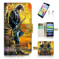 Samsung Galaxy S5 Print Flip Wallet Case Cover! Saxophone Player P1479