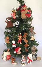 15 Teddy Bear Christmas Hanging Ornaments Assorted Wood Porcelain Shapes Sizes