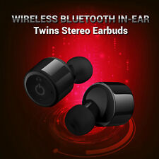 Mini True Wireless Bluetooth Twins Stereo In-Ear Headset Earphone Earbud -Black