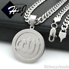 "20""MEN Stainless Steel 6mm Silver Cuban Curb Necklace Allah Round Pendant*P78"
