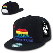 California Republic Black Rainbow Gay Pride Snapback Snap Flat Bill Cap Caps Hat