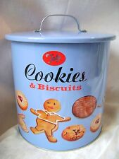 NEW TALA BISCUIT AND COOKIE BARREL RETRO TIN ORIGINAL DESIGN WITH HANDLE & LID