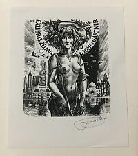 Frank Ivo van Damme, Erotic Bookplate Ex Libris, Signed.