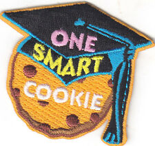 """ONE SMART COOKIE"" PATCH - SCHOOL - DESSERT - IRON ON EMBROIDERED APPLIQUE"