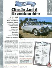Citroën Ami 6 Berline/Break 2 Cyl. 1961 France Car Auto Retro FICHE FRANCE